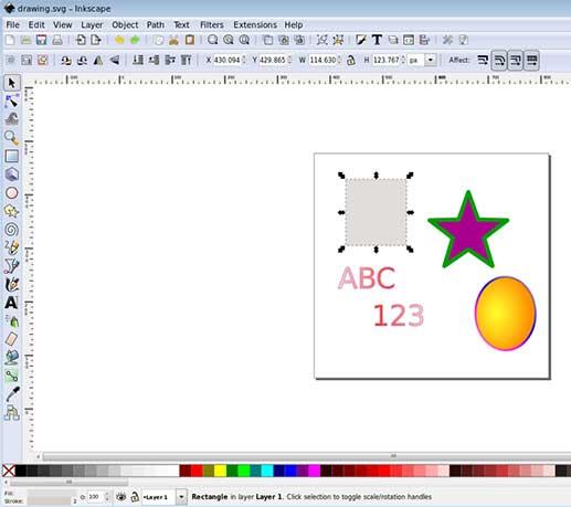 نمایی از نرم افزار اینک اسکیپ Inkscape