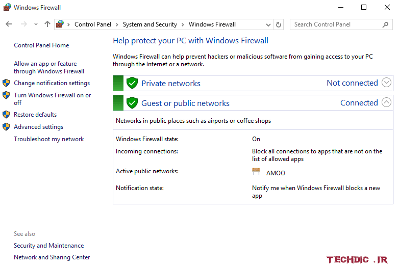 دیوار آتش Windows Firewall