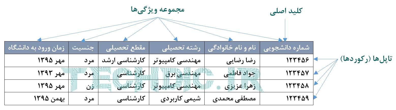 نمونه جدول یک پایگاه داده رابطه ای relational database table