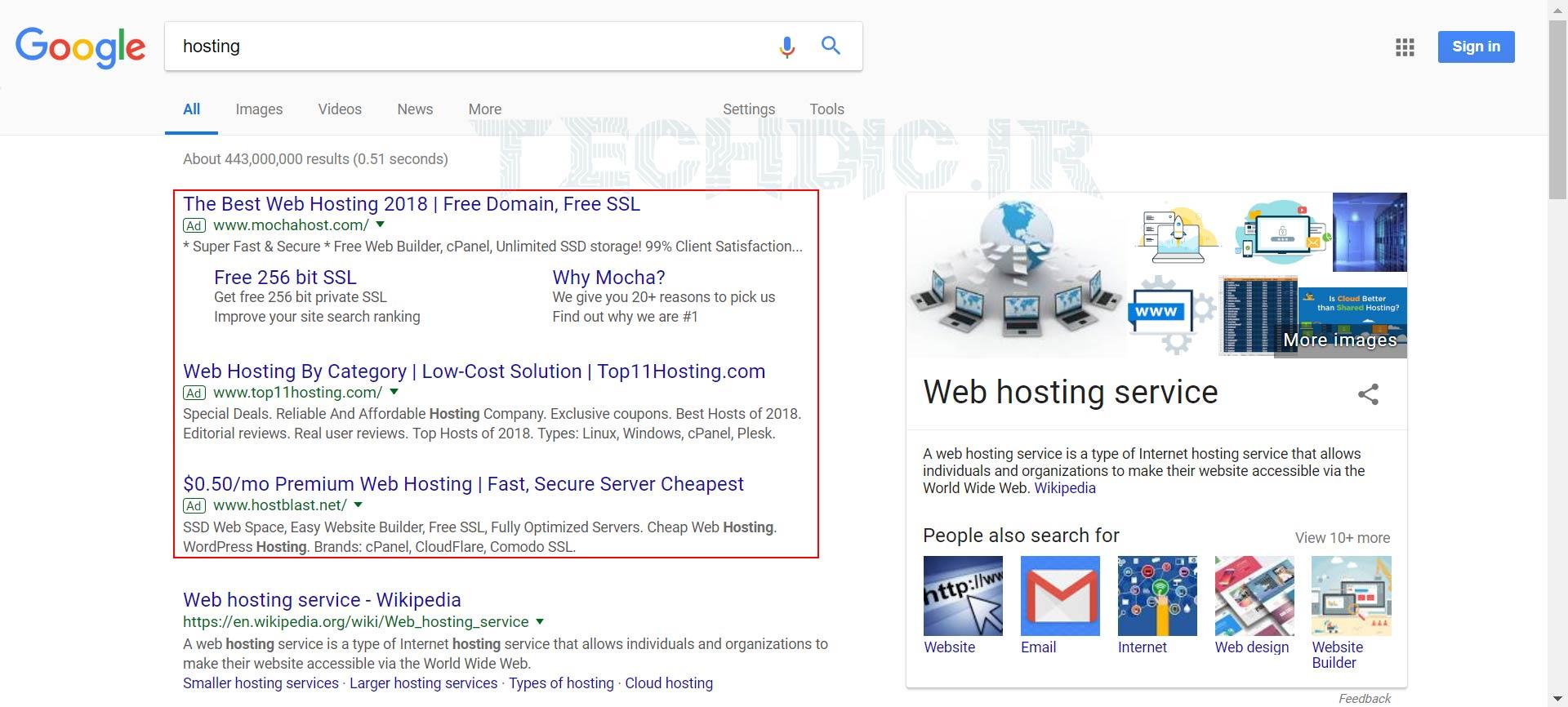 نتایج مختلف در صفحه نتایج موتور جستجو