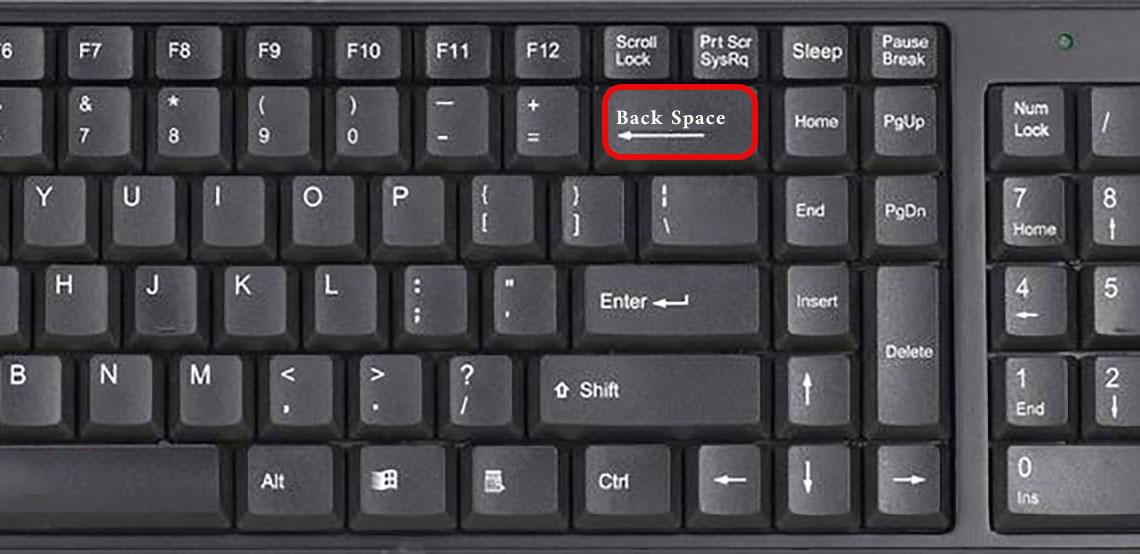 بک اسپیس Backspace