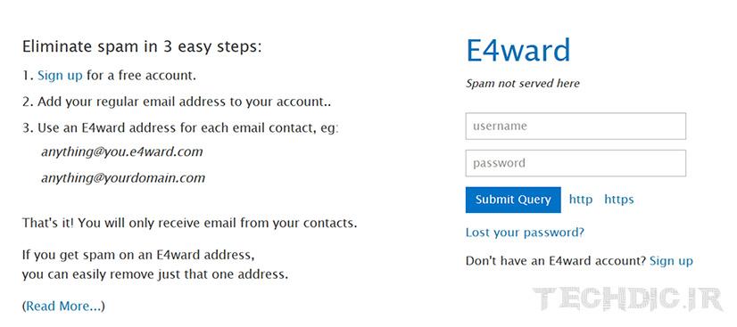 سایت نشانی ایمیل موقت E4ward
