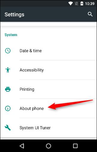 گزینه About phone در اندروید