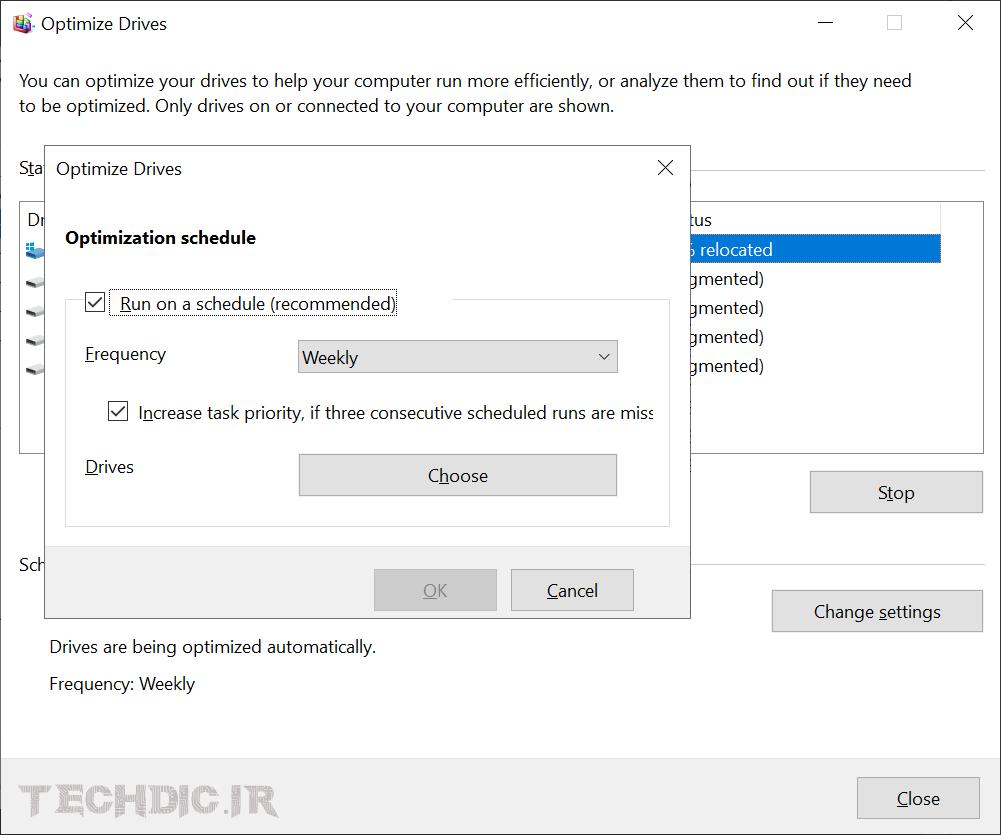 تغییر زمان بندی بهینه سازی درایوها در ویندوز 10