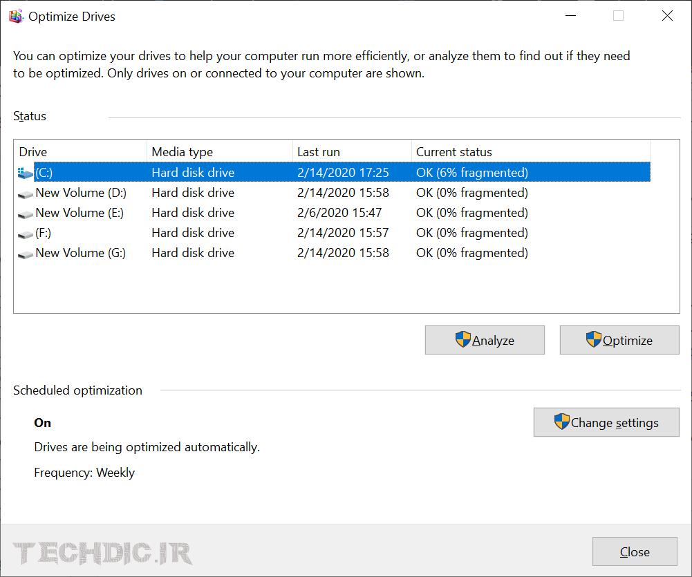 پنجره Optimize Drives در ویندوز 10
