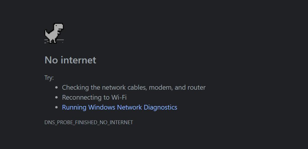 بازی دایناسور - صفحه قطعی اینترنت در مرورگر گوگل کروم