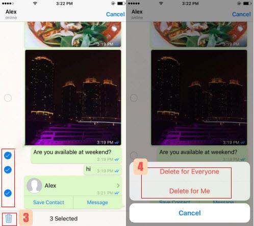 حذف پیام ها از واتساپ در آیفون