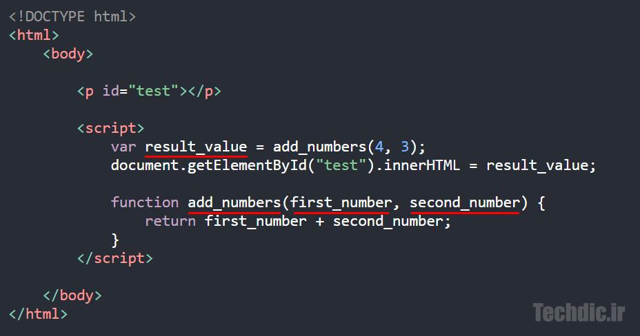 نمونه ای از کاربرد اسنیک کیس یا نگارش ماری Snake Case در یک قطعه کد