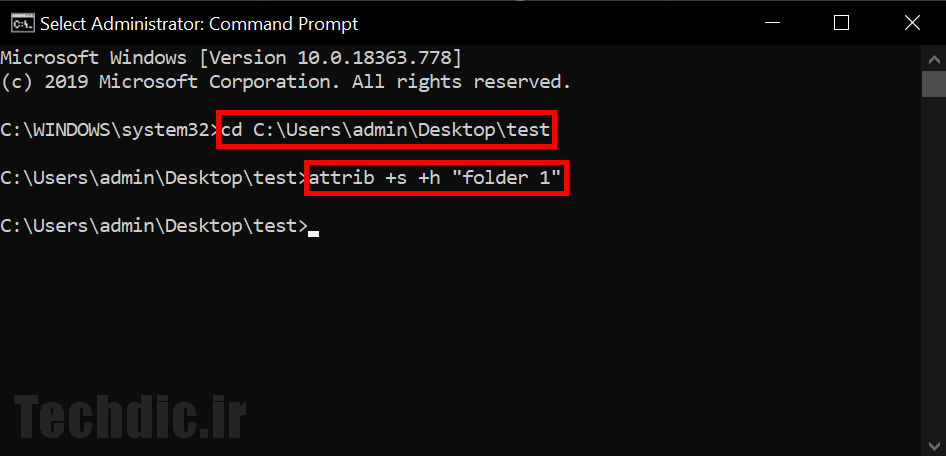 پنهان کردن فایل و فولدر به صورت سیستمی با کمک Command Prompt