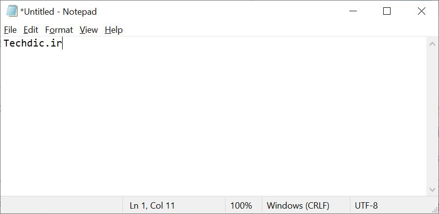 نمایی از مایکروسافت نوت پد Microsoft Notepad در ویندوز 10