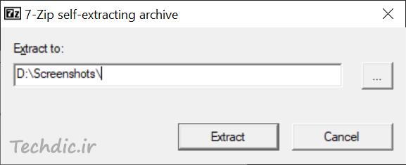 استخراج محتویات فایل آرشیو اجرایی ایجاد شده با استفاده از 7-zip