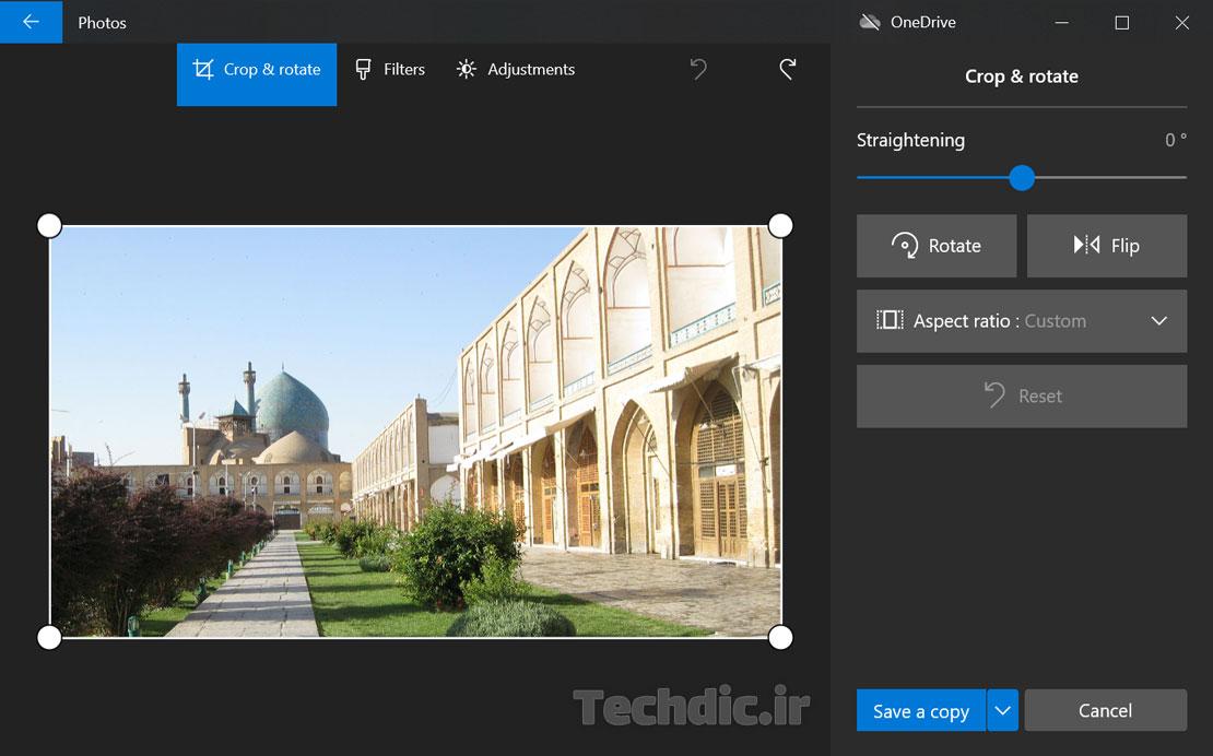 محیط ویرایش تصویر و عکس با کمک اپلیکیشن Photos در ویندوز 10