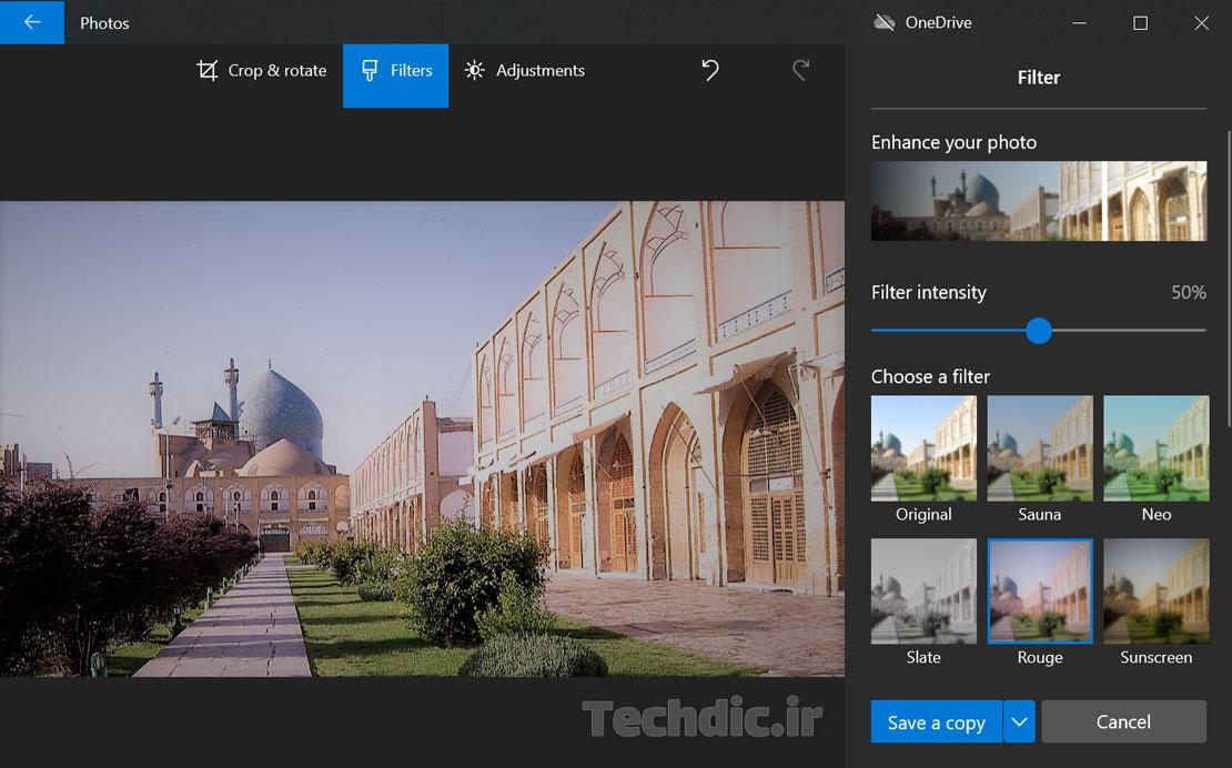 بخش Filters در اپلیکیشن Photos