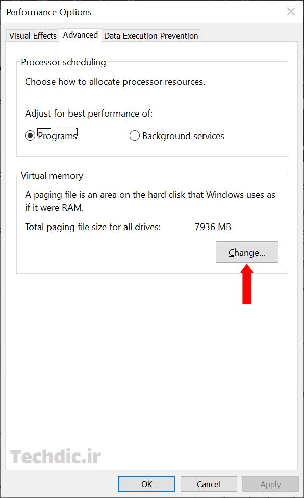 بهبود کارایی ویندوز با تغییر و افزایش حافظه مجازی - انتخاب Change در قسمت Virtual memory