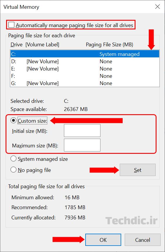 بهبود کارایی ویندوز با تغییر و افزایش حافظه مجازی
