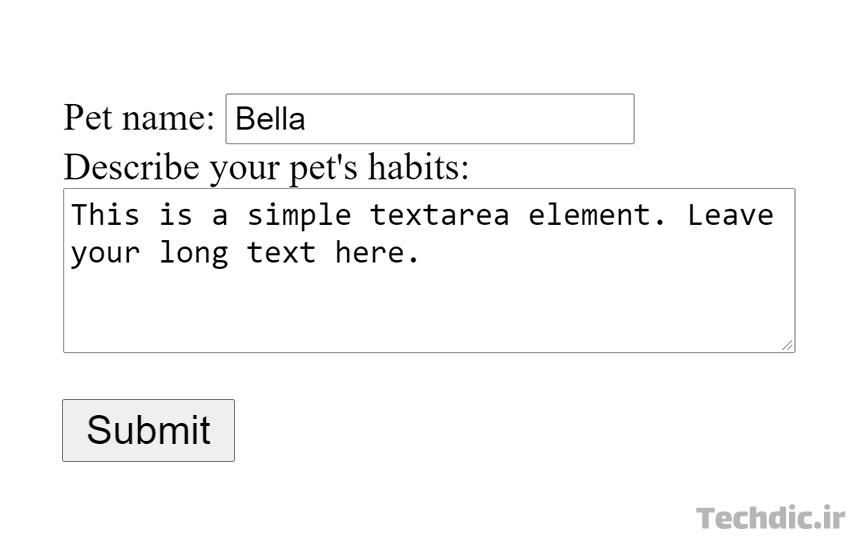 تکست باکس - جعبه متن یا فیلد متنی Text box