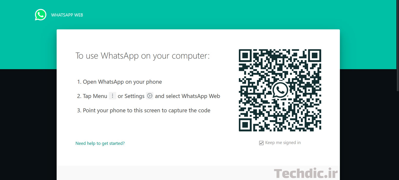 نمایی از صفحه آغازین واتساپ وب WhatsApp Web پیش از لاگین کردن در حال نمایش یک کیو آر کد
