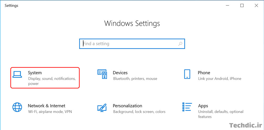 ورود به بخش System برای فعال سازی تاریخچه کلیپ بورد در ویندوز 10
