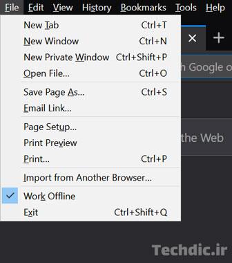 فعال بودن گزینه Work Offline در مرورگر فایرفاکس