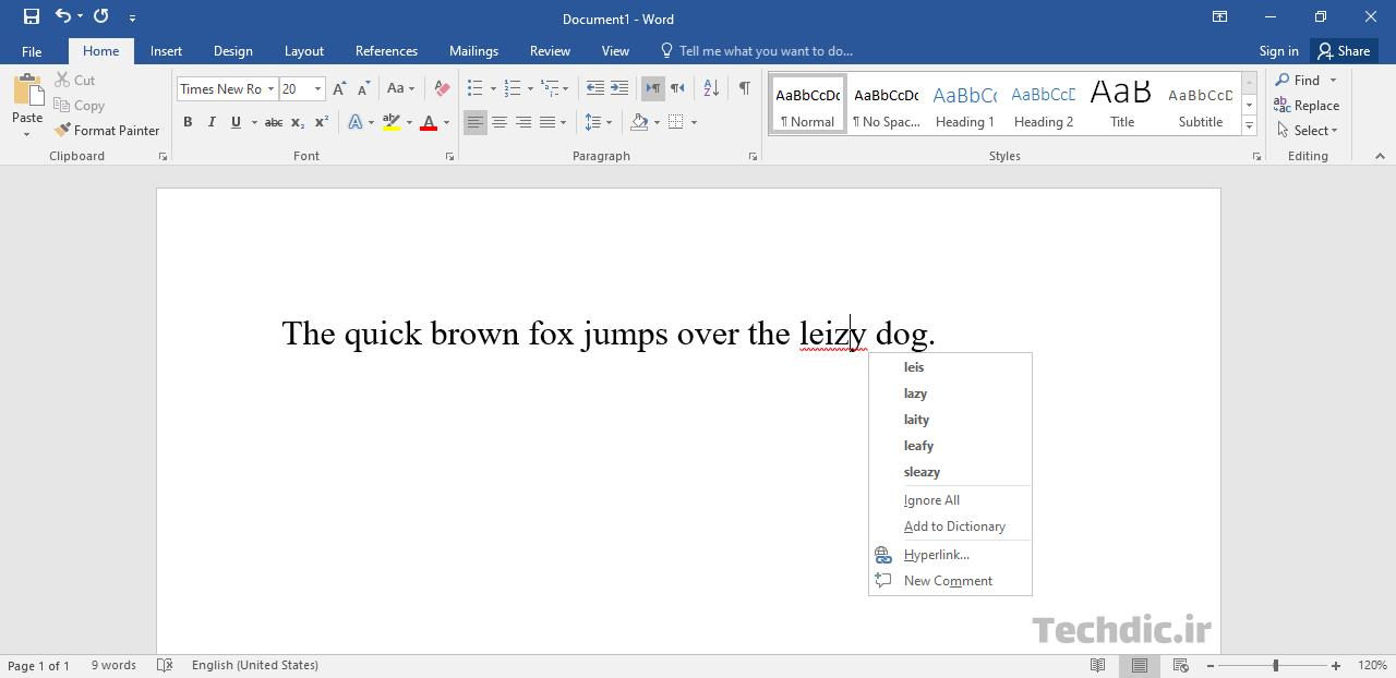 نمونهای از بررسی املایی یا Spell check در نرم افزار Microsoft Word
