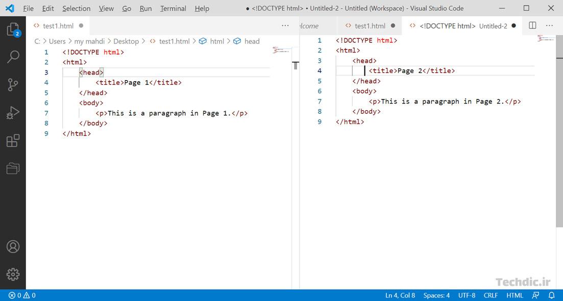 اسپلیت اسکرین Split screen یا تقسیم صفحه در ویرایشگر سورس کد Visual Studio Code