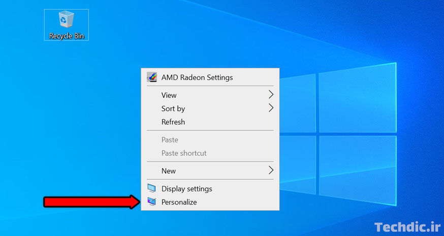 انتخاب گزینه Personalize از منوی راست کلیک دسکتاپ در ویندوز