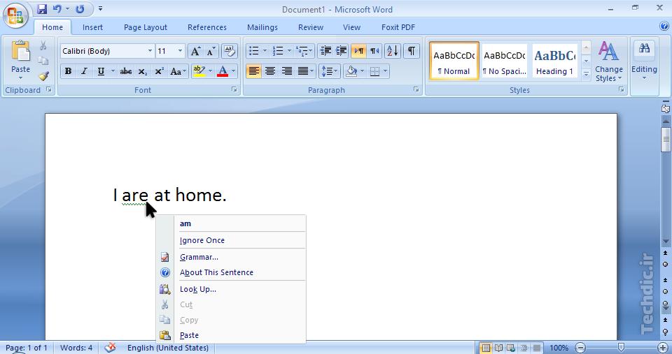بررسی دستور زبان - بررسی گرامر Grammar check در نرم افزار مایکروسافت ورد (Microsoft Word)