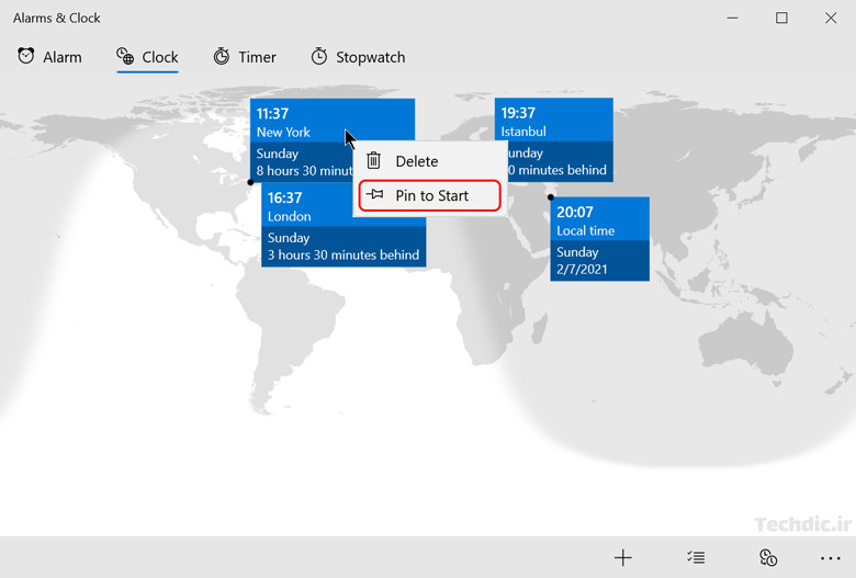 نمایش همزمان ساعت های چند کشور و منطقه های زمانی مختلف در ویندوز با کمک اپلیکیشن Alarms & Clock