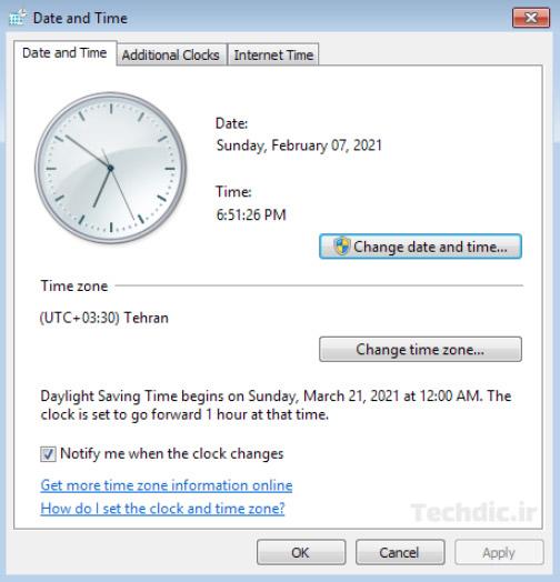 پنجره Date and time