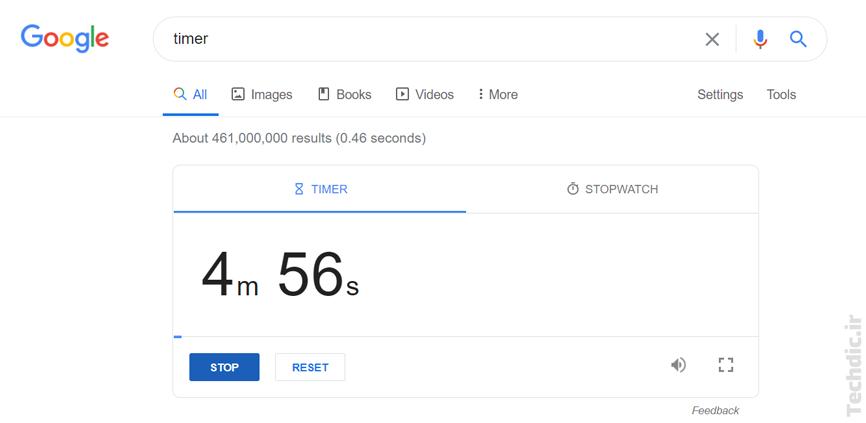 نمایی از تایمر یا زمان سنج در سرویس جستجوی گوگل
