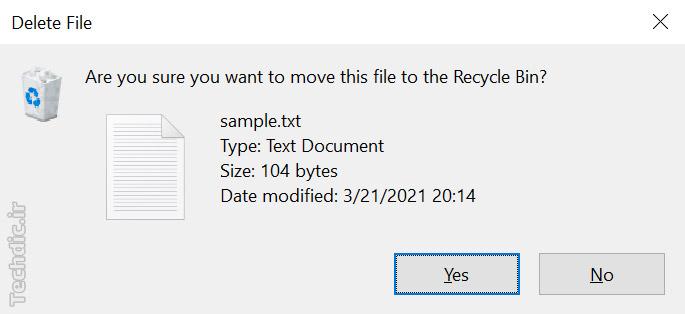 نمایی از دیالوگ تأیید حذف یک فایل در ویندوز 10