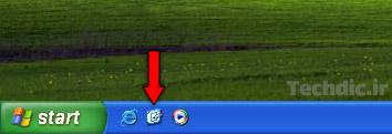 آیکن Show desktop در بخش Quick Launch ویندوز XP برای نمایش و دسترسی سریع به دسکتاپ