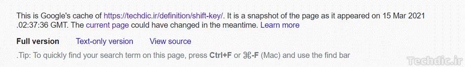 نمونهای از پیام نمایش داده شده در بالای صفحات کش شده گوگل