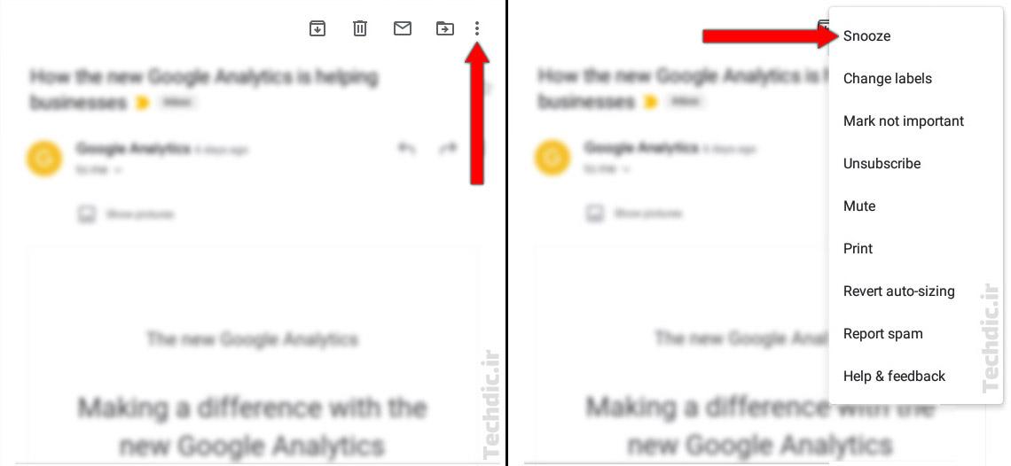 اسنوز کردن ایمیل در اپلیکیشن جیمیل