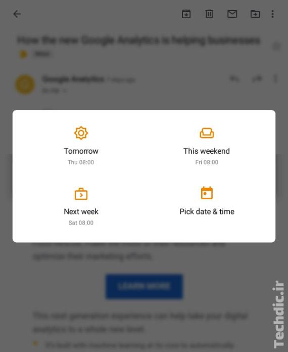 تعیین زمان برای اسنوز (Snooze) کردن ایمیل در اپلیکیشن جیمیل