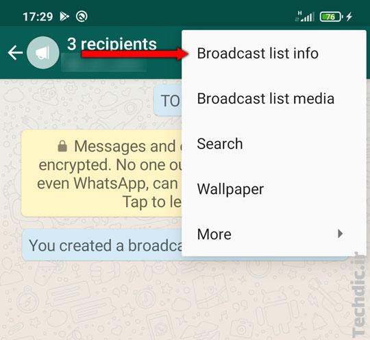 آشنایی با لیست انتشار یا فهرست انتشار (Broadcast list) در واتساپ و نحوه استفاده از آن - ویرایش لیست انتشار، افزودن و حذف گیرنده ها