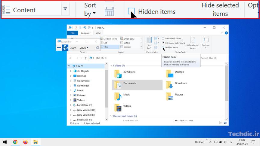 آشنایی با ابزار ذره بین (یا Magnifier) در ویندوز برای بزرگنمایی محتوای صفحه - نمایی از بزرگنمایی در حالت Docked