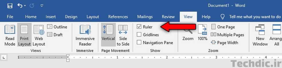 آشنایی با اجزای اصلی رابط کاربری مایکروسافت ورد - نمایش خط کش