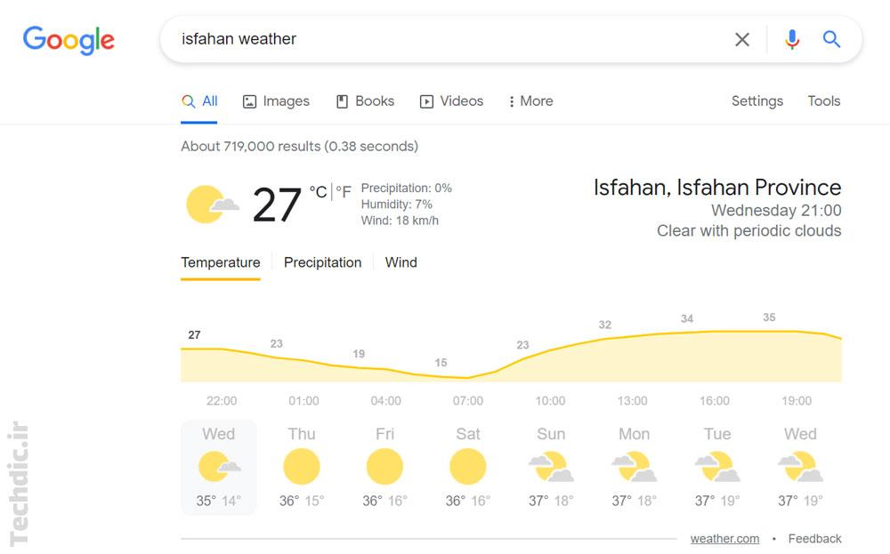 مشاهده دما و وضعیت آب و هوا در شهر موردنظر با کمک سرویس جستجوی گوگل
