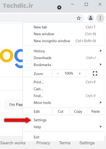آموزش باز کردن خودکار چند صفحه وب هنگام اجرای گوگل کروم - ورود به بخش Settings