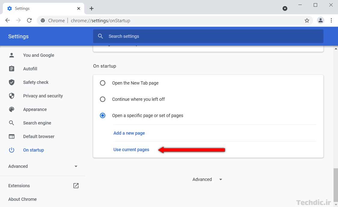 آموزش باز کردن خودکار چند صفحه وب هنگام اجرای گوگل کروم - اضافه کردن صفحات فعلی