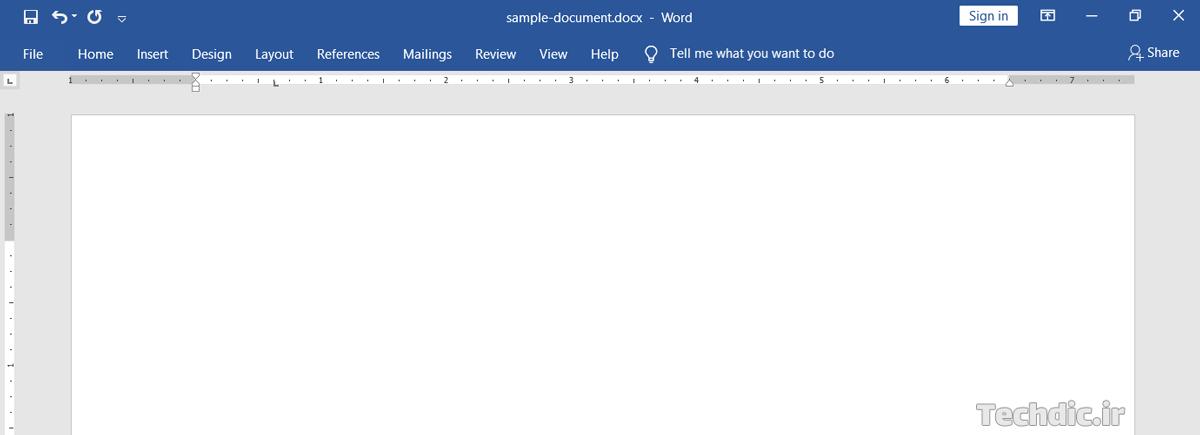 نمایی از محیط کاربری مایکروسافت ورد با ریبون مینیمایز شده