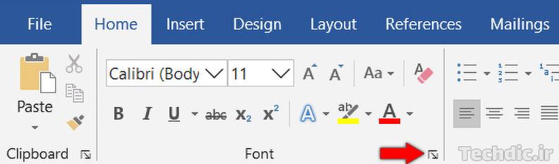 دکمه نمایش جعبه دیالوگ Font در ریبون مایکروسافت ورد