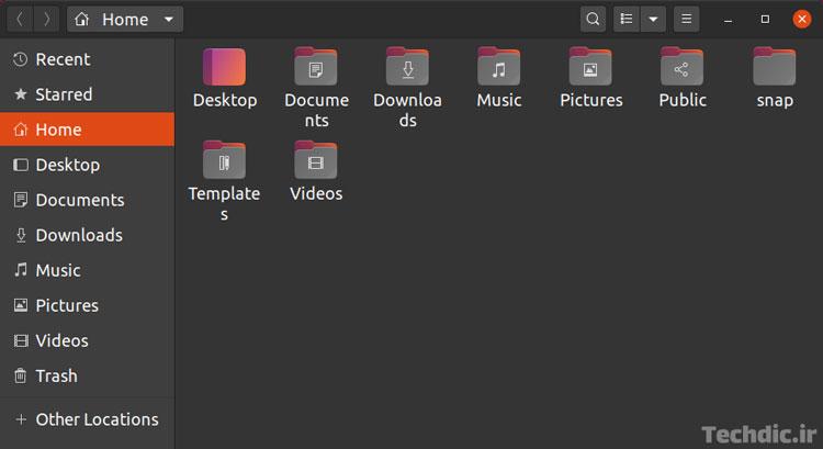 نمایی از دایرکتوری خانه - پوشه خانه یا فولدر خانه Home Directory در Ubuntu 20.04