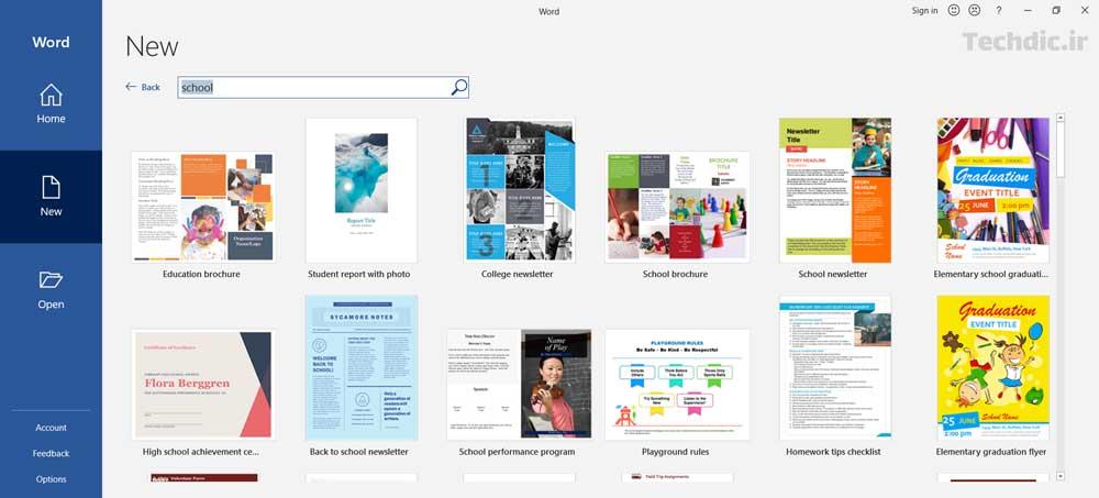 جستجوی قالب های آنلاین در مایکروسافت ورد برای ایجاد سند جدید