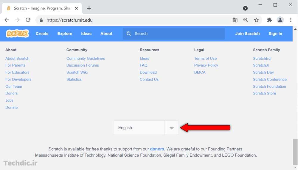 ورود به اسکرچ، عضویت و تغییر زبان - تغییر زبان سایت اسکرچ
