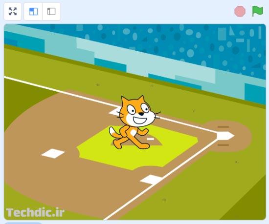 نمایی از پس زمینه زمین بیسبال و گربه اسکرچ روی صحنه