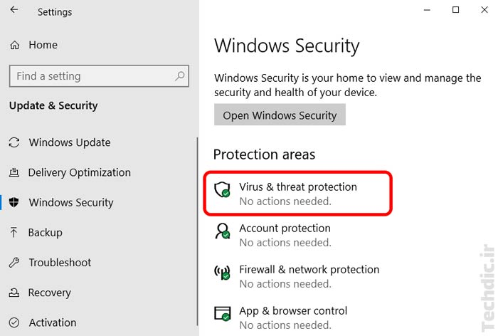 ورود به بخش Virus & threat protection