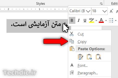 گزینه Copy در منوی راست کلیک