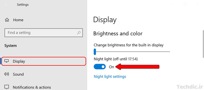 فعال کردن Night light در بخش Settings ویندوز